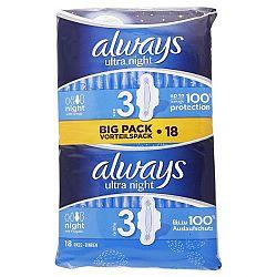 ALWAYS Ultra dámske hygienické vložky s krídelkami Night 3 18 ks