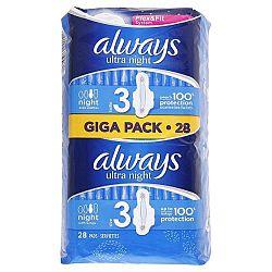 ALWAYS Ultra dámske hygienické vložky s krídelkami Night 3 28 ks