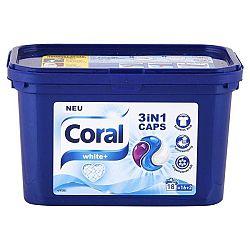 CORAL White+ 3v1 kapsule na pranie bielej bielizne 18 praní