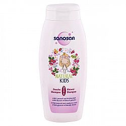 SANOSAN detský sprchový gél a šampón pre dievčatá Vôňa maliny 250 ml