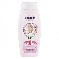 SANOSAN detský sprchový gél, šampón a kondicionér pre dievčatá Vôňa čerešne 250 ml