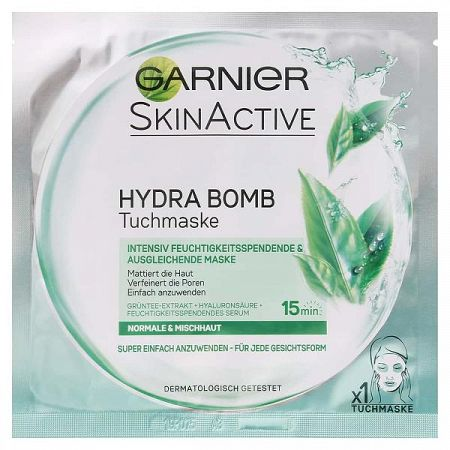 GARNIER SkinActive hydratačná čistiaca textilná maska so zeleným čajom 1 ks