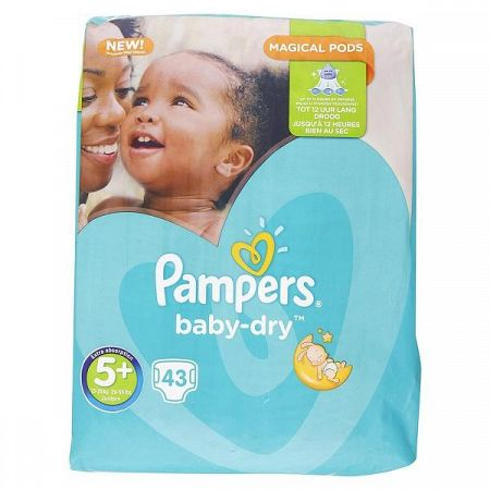 PAMPERS detské plienky Baby Dry 5+ Junior+ 13-25 kg 43 ks